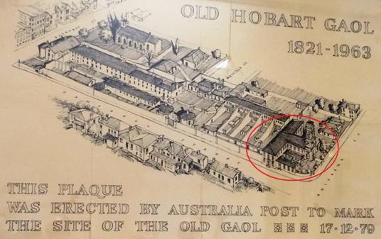 A börtönkomplexum teljes terjedelme. A piros körben a kereszt alakú kápolna.