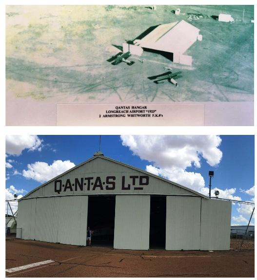 Az 1923-ban épült qantas hangár, ahol az első gépet gyartották. Akkor és most.