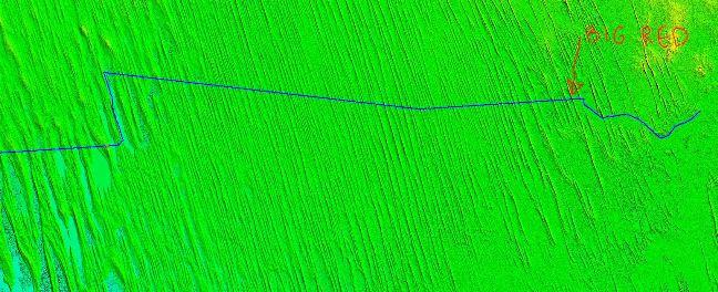 3D terepmodell a párhuzamos dűnékről. A kék vonal az útvonalunk. Ez nem a teljes sivatagi szakasz modellje. Az túl nagy lenne és elveszne a sok dűne.